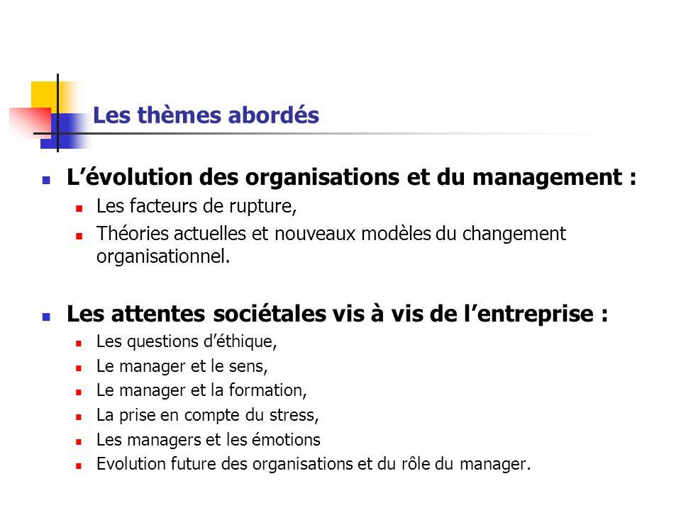 Les thèmes abordés Lévolution des organisations et du management : Les facteurs de rupture, Théories actuelles et nouveaux modèles du changement organ