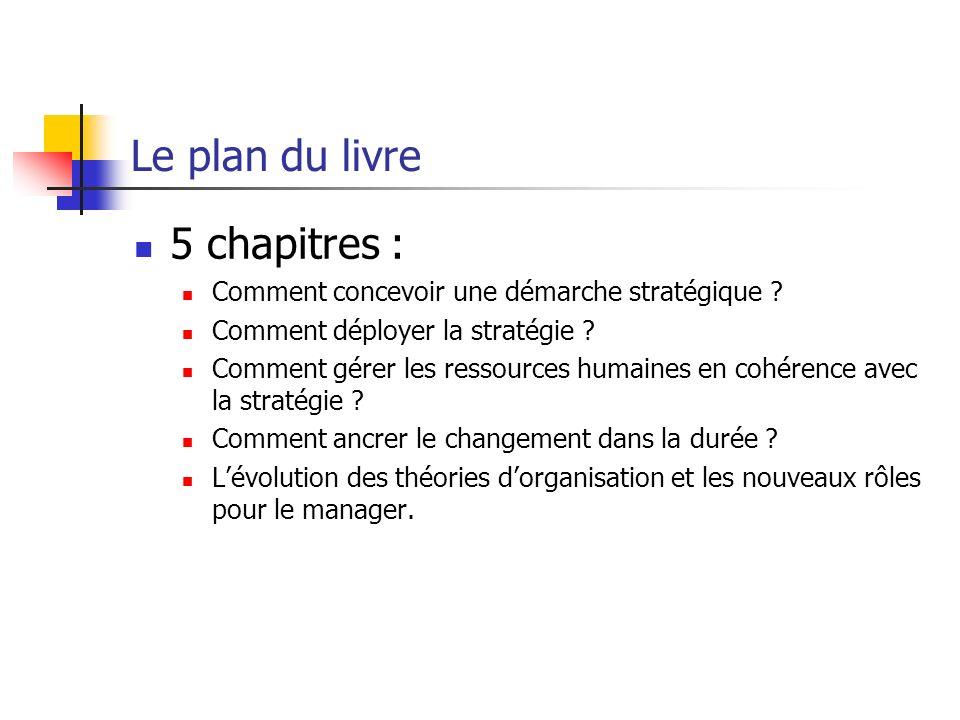 Le plan du livre 5 chapitres : Comment concevoir une démarche stratégique ? Comment déployer la stratégie ? Comment gérer les ressources humaines en c