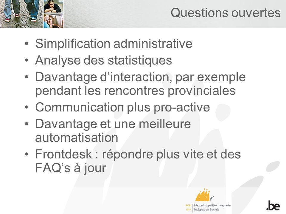 Questions ouvertes Simplification administrative Analyse des statistiques Davantage dinteraction, par exemple pendant les rencontres provinciales Communication plus pro-active Davantage et une meilleure automatisation Frontdesk : répondre plus vite et des FAQs à jour