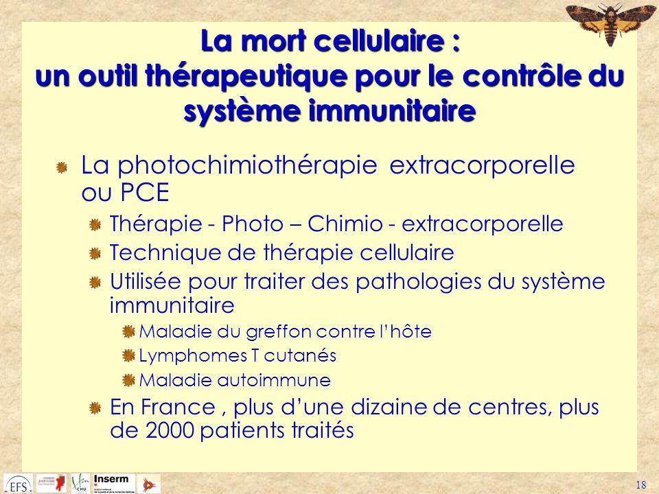 18 La mort cellulaire : un outil thérapeutique pour le contrôle du système immunitaire La photochimiothérapie extracorporelle ou PCE Thérapie - Photo