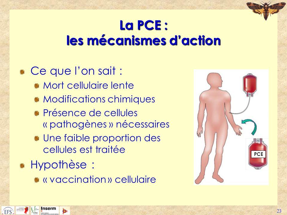 23 La PCE : les mécanismes daction Ce que lon sait : Mort cellulaire lente Modifications chimiques Présence de cellules « pathogènes » nécessaires Une