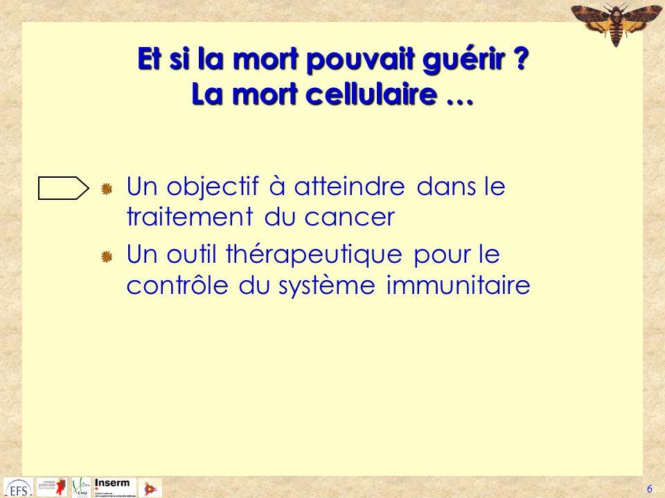 6 Et si la mort pouvait guérir ? La mort cellulaire … Un objectif à atteindre dans le traitement du cancer Un outil thérapeutique pour le contrôle du