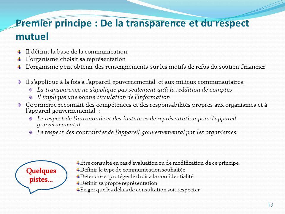 Premier principe : De la transparence et du respect mutuel Il définit la base de la communication. Lorganisme choisit sa représentation Lorganisme peu