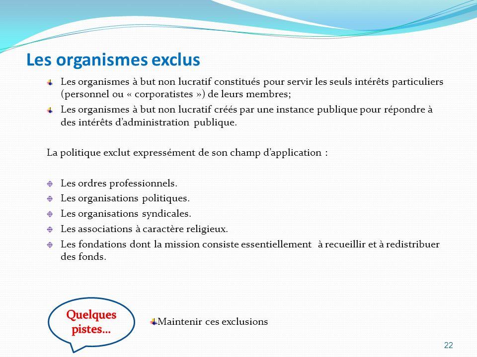 Les organismes exclus Les organismes à but non lucratif constitués pour servir les seuls intérêts particuliers (personnel ou « corporatistes ») de leu