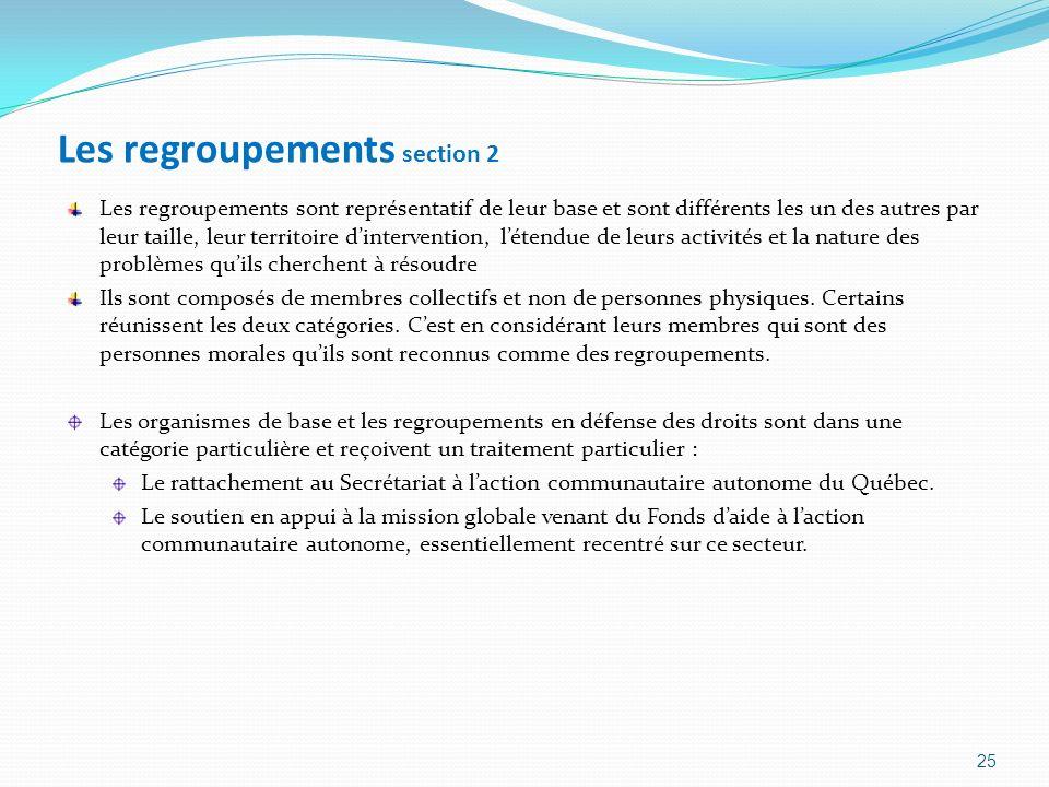 Les regroupements section 2 Les regroupements sont représentatif de leur base et sont différents les un des autres par leur taille, leur territoire di