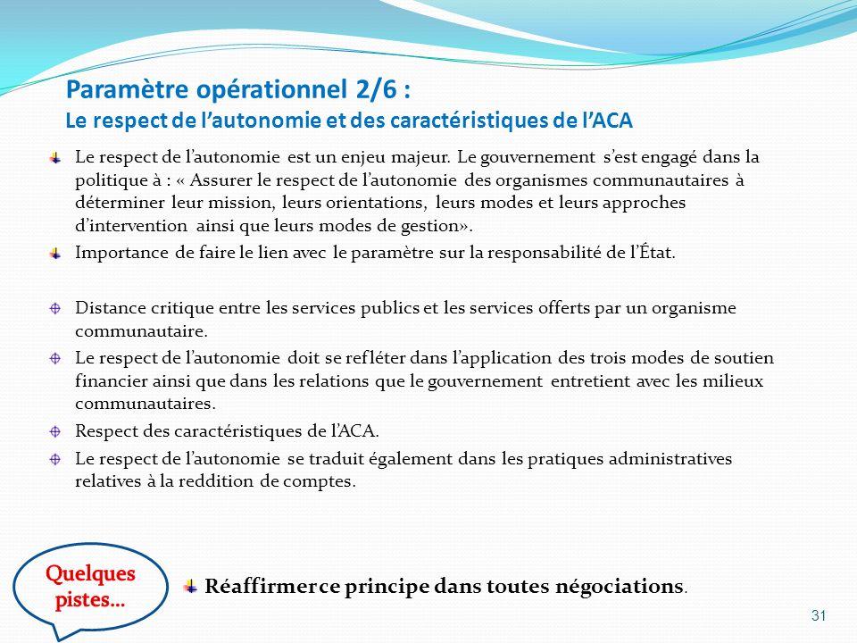 Paramètre opérationnel 2/6 : Le respect de lautonomie et des caractéristiques de lACA Le respect de lautonomie est un enjeu majeur. Le gouvernement se