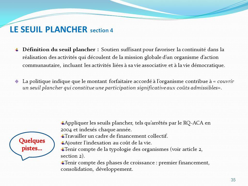 LE SEUIL PLANCHER section 4 Définition du seuil plancher : Soutien suffisant pour favoriser la continuité dans la réalisation des activités qui découl