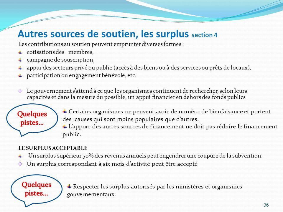 Autres sources de soutien, les surplus section 4 Les contributions au soutien peuvent emprunter diverses formes : cotisations des membres, campagne de