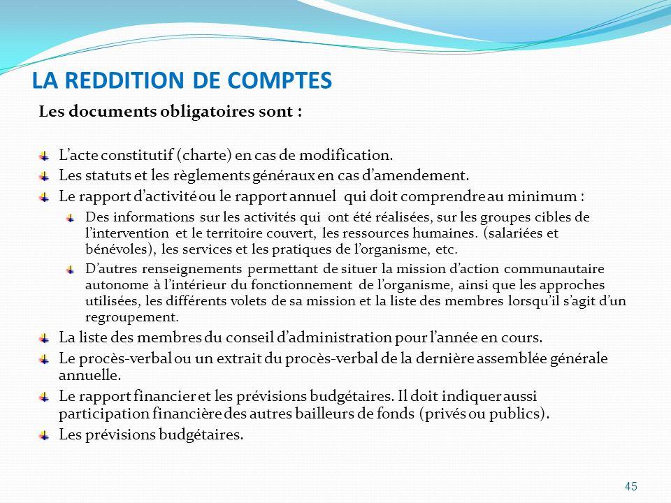 LA REDDITION DE COMPTES Les documents obligatoires sont : Lacte constitutif (charte) en cas de modification. Les statuts et les règlements généraux en