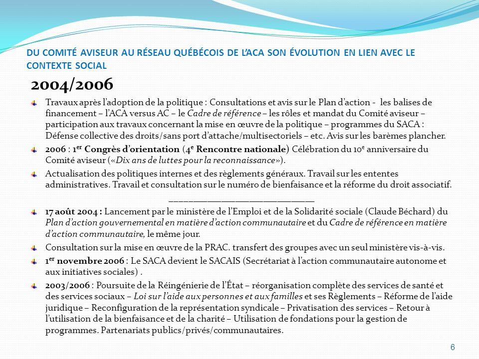 DU COMITÉ AVISEUR AU RÉSEAU QUÉBÉCOIS DE LACA SON ÉVOLUTION EN LIEN AVEC LE CONTEXTE SOCIAL 2004/2006 Travaux après ladoption de la politique : Consul