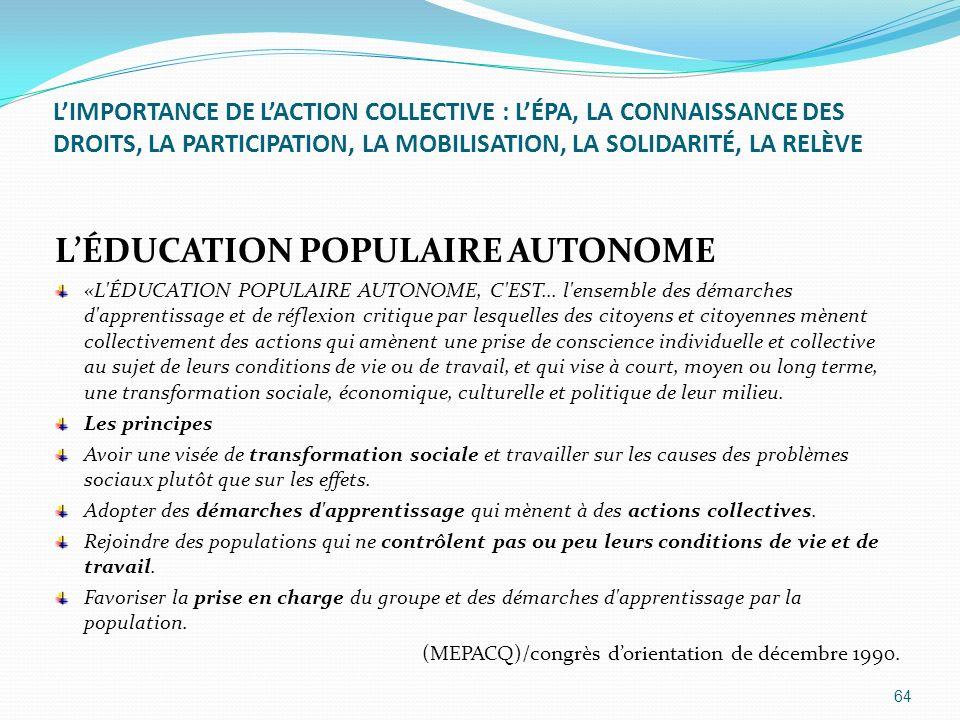 LIMPORTANCE DE LACTION COLLECTIVE : LÉPA, LA CONNAISSANCE DES DROITS, LA PARTICIPATION, LA MOBILISATION, LA SOLIDARITÉ, LA RELÈVE LÉDUCATION POPULAIRE
