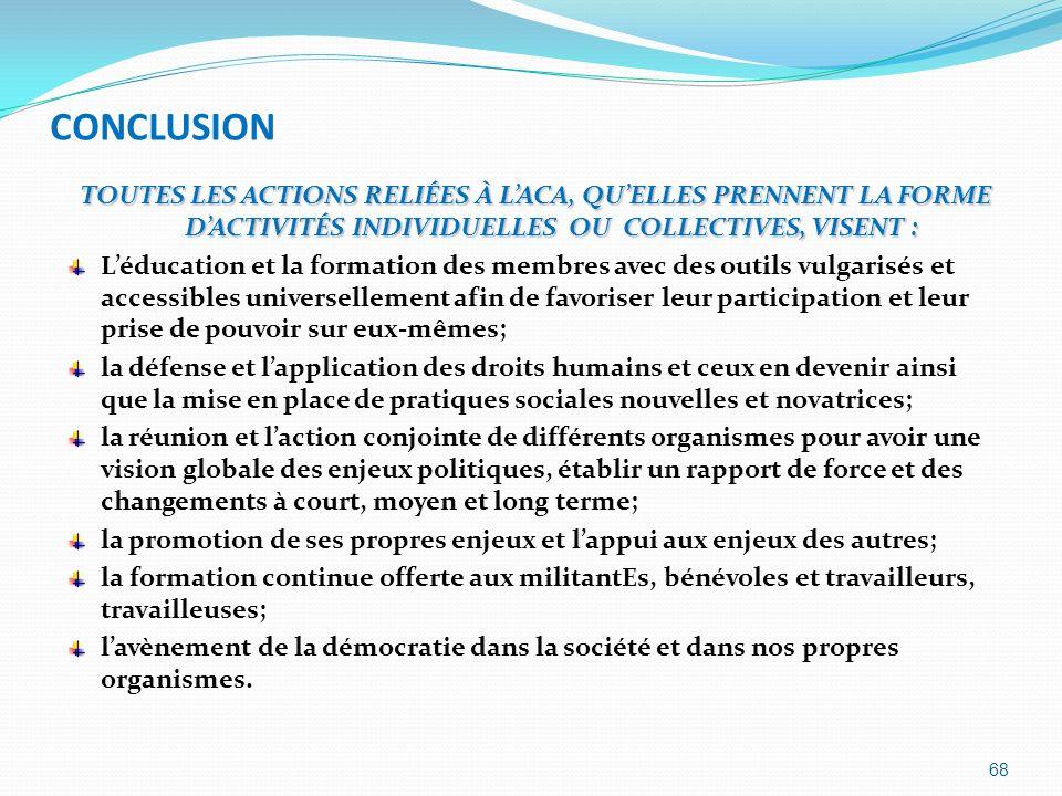 CONCLUSION TOUTES LES ACTIONS RELIÉES À LACA, QUELLES PRENNENT LA FORME DACTIVITÉS INDIVIDUELLES OU COLLECTIVES, VISENT : Léducation et la formation d