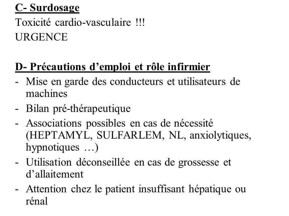 C- Surdosage Toxicité cardio-vasculaire !!! URGENCE D- Précautions demploi et rôle infirmier -Mise en garde des conducteurs et utilisateurs de machine