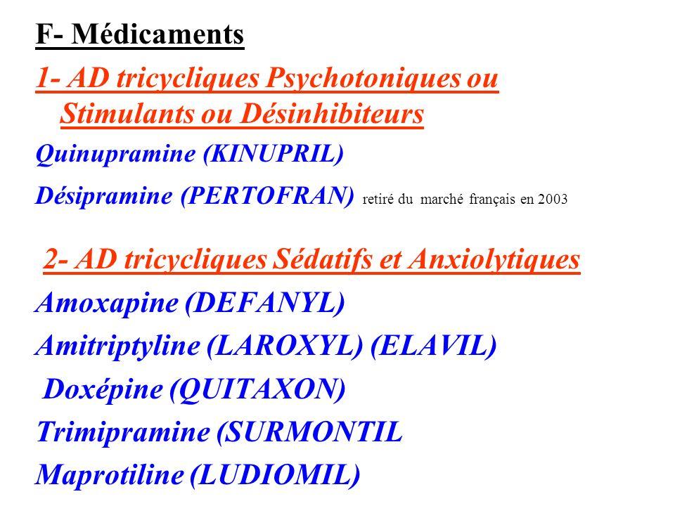 F- Médicaments 1- AD tricycliques Psychotoniques ou Stimulants ou Désinhibiteurs Quinupramine (KINUPRIL) Désipramine (PERTOFRAN) retiré du marché fran