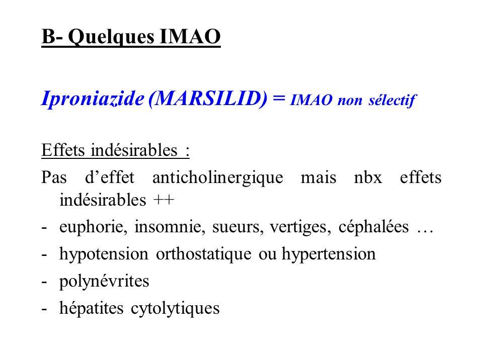 B- Quelques IMAO Iproniazide (MARSILID) = IMAO non sélectif Effets indésirables : Pas deffet anticholinergique mais nbx effets indésirables ++ -euphor