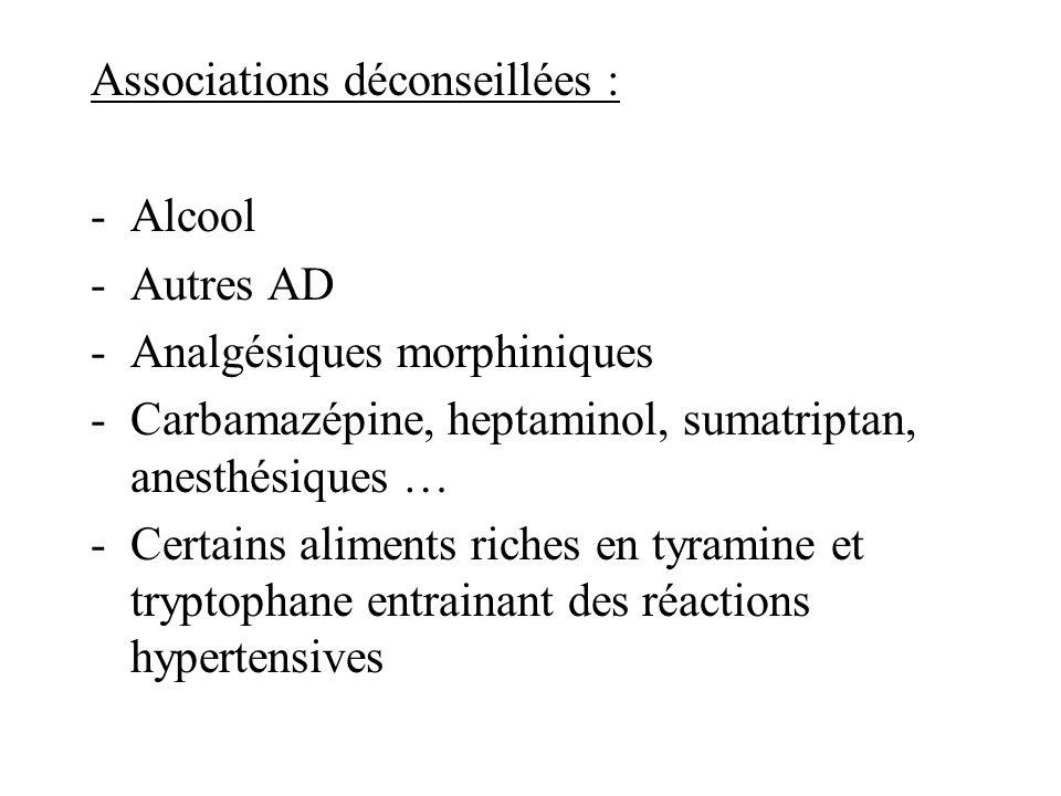 Associations déconseillées : -Alcool -Autres AD -Analgésiques morphiniques -Carbamazépine, heptaminol, sumatriptan, anesthésiques … -Certains aliments