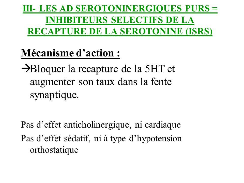 III- LES AD SEROTONINERGIQUES PURS = INHIBITEURS SELECTIFS DE LA RECAPTURE DE LA SEROTONINE (ISRS) Mécanisme daction : Bloquer la recapture de la 5HT