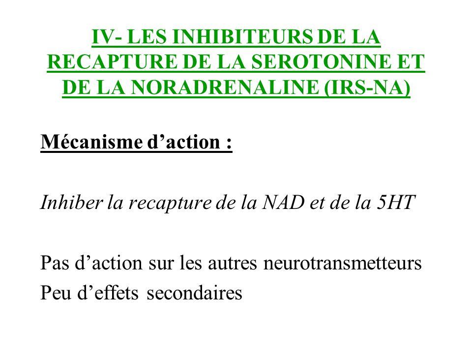 IV- LES INHIBITEURS DE LA RECAPTURE DE LA SEROTONINE ET DE LA NORADRENALINE (IRS-NA) Mécanisme daction : Inhiber la recapture de la NAD et de la 5HT P