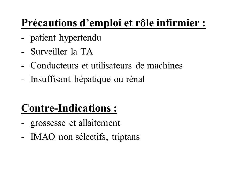 Précautions demploi et rôle infirmier : -patient hypertendu -Surveiller la TA -Conducteurs et utilisateurs de machines -Insuffisant hépatique ou rénal
