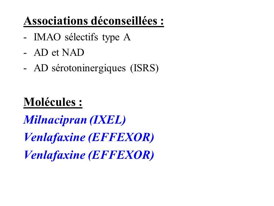 Associations déconseillées : -IMAO sélectifs type A -AD et NAD -AD sérotoninergiques (ISRS) Molécules : Milnacipran (IXEL) Venlafaxine (EFFEXOR)