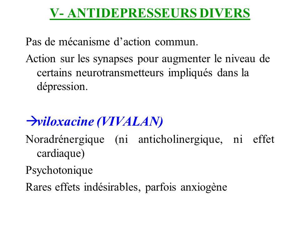 V- ANTIDEPRESSEURS DIVERS Pas de mécanisme daction commun. Action sur les synapses pour augmenter le niveau de certains neurotransmetteurs impliqués d