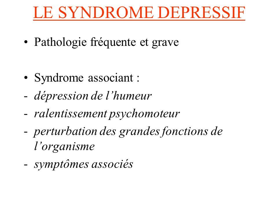 LE SYNDROME DEPRESSIF Pathologie fréquente et grave Syndrome associant : -dépression de lhumeur -ralentissement psychomoteur -perturbation des grandes