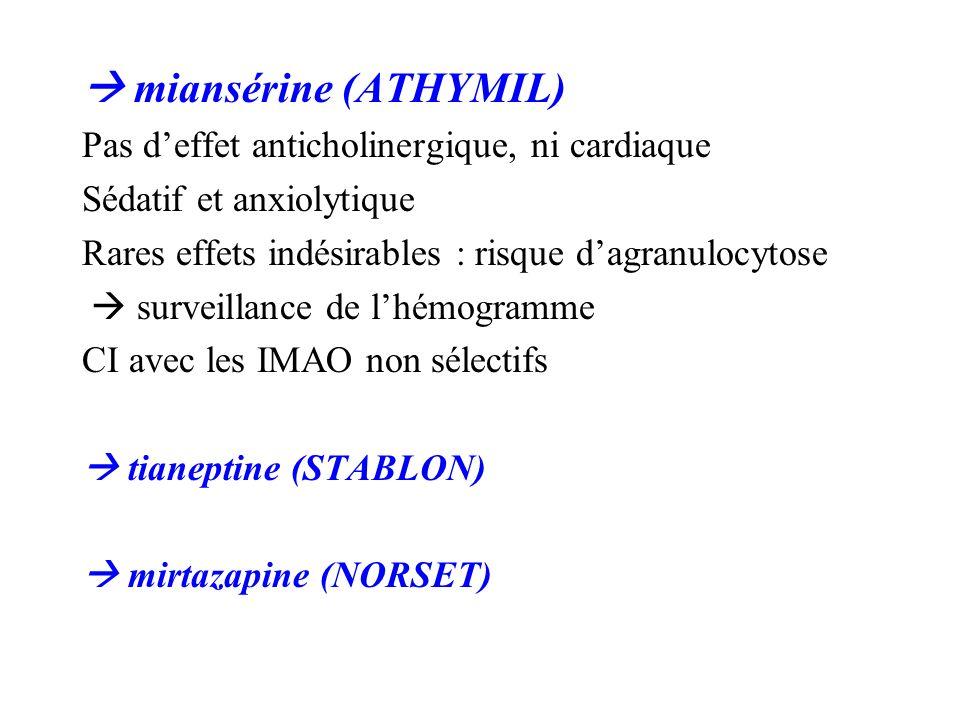 miansérine (ATHYMIL) Pas deffet anticholinergique, ni cardiaque Sédatif et anxiolytique Rares effets indésirables : risque dagranulocytose surveillanc