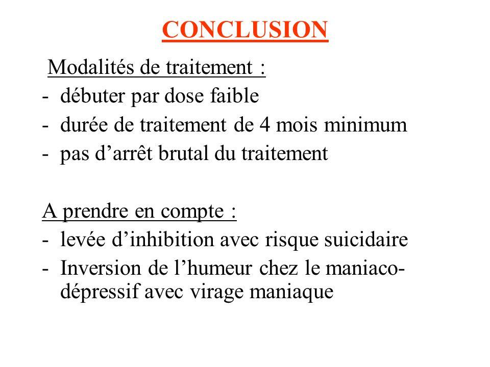 CONCLUSION Modalités de traitement : -débuter par dose faible -durée de traitement de 4 mois minimum -pas darrêt brutal du traitement A prendre en com