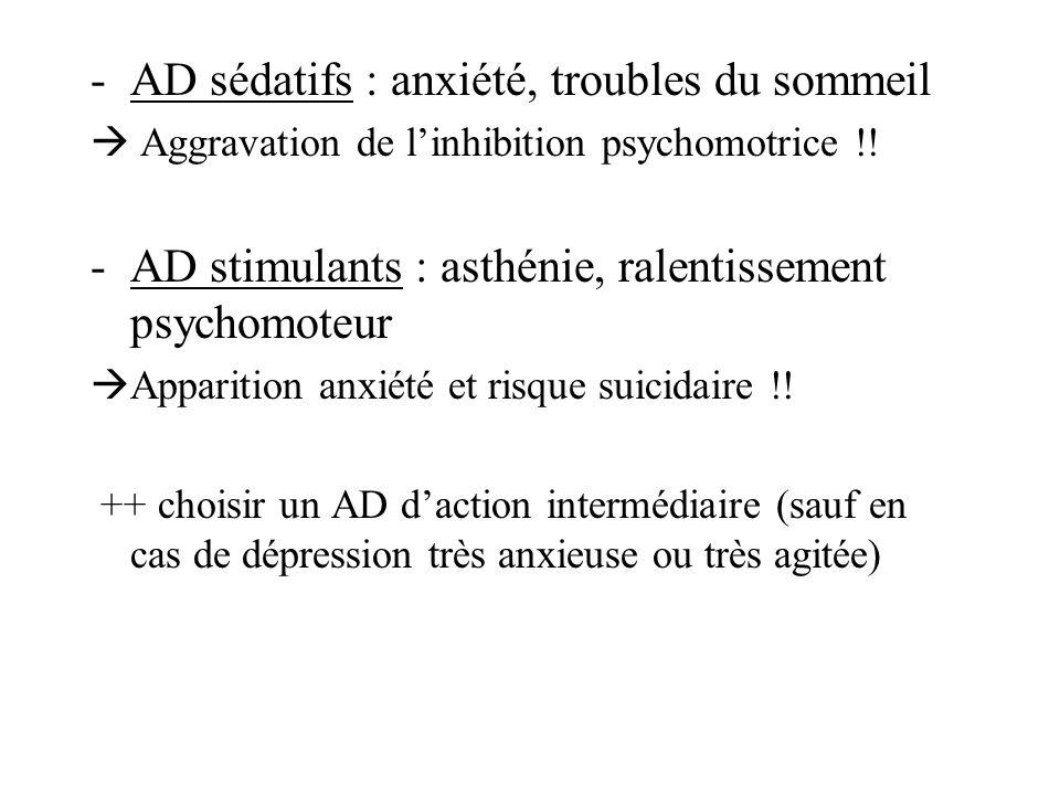 -AD sédatifs : anxiété, troubles du sommeil Aggravation de linhibition psychomotrice !! -AD stimulants : asthénie, ralentissement psychomoteur Apparit