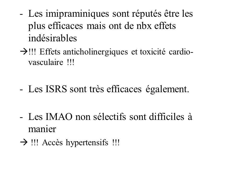 -Les imipraminiques sont réputés être les plus efficaces mais ont de nbx effets indésirables !!! Effets anticholinergiques et toxicité cardio- vascula