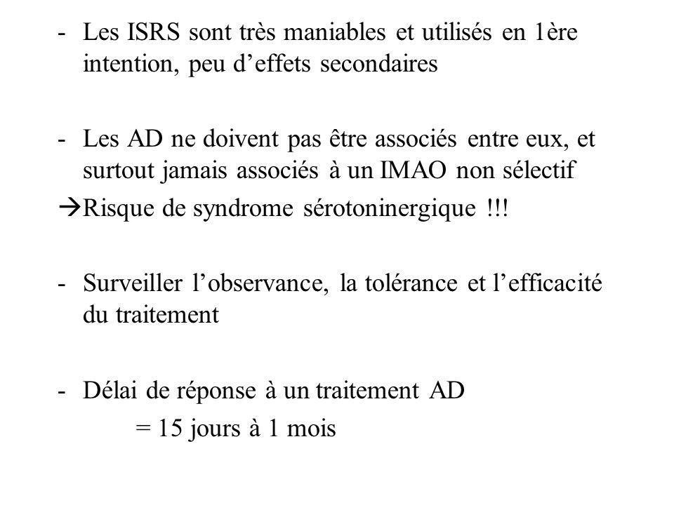 -Les ISRS sont très maniables et utilisés en 1ère intention, peu deffets secondaires -Les AD ne doivent pas être associés entre eux, et surtout jamais