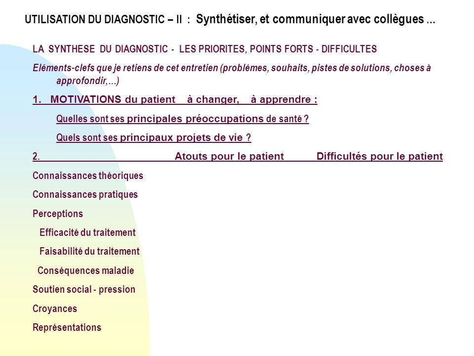 LA SYNTHESE DU DIAGNOSTIC - LES PRIORITES, POINTS FORTS - DIFFICULTES Eléments-clefs que je retiens de cet entretien (problèmes, souhaits, pistes de s