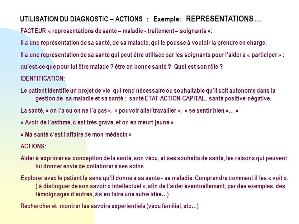 FACTEUR « représentations de santé – maladie - traitement – soignants »: Il a une représentation de sa santé, de sa maladie, qui le pousse à vouloir l