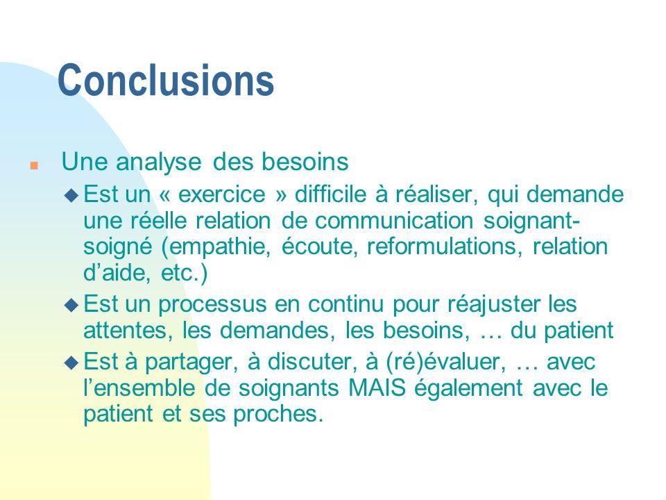 Conclusions n Une analyse des besoins u Est un « exercice » difficile à réaliser, qui demande une réelle relation de communication soignant- soigné (e