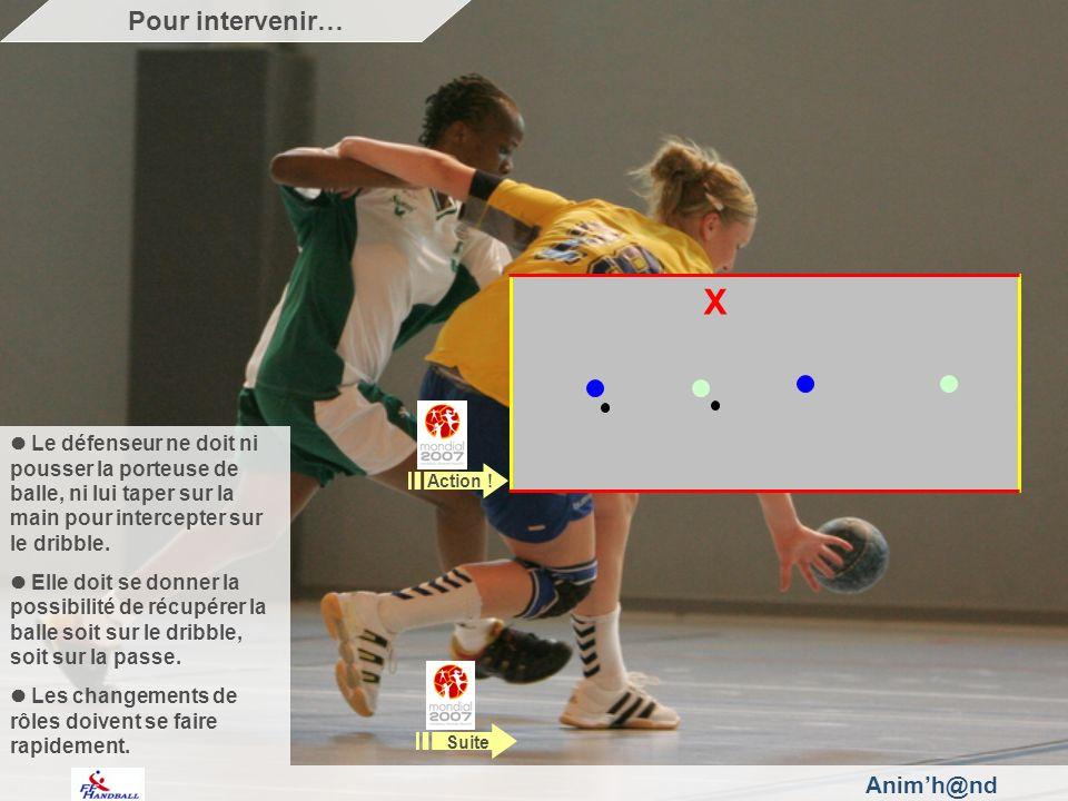 Animh@nd Le défenseur ne doit ni pousser la porteuse de balle, ni lui taper sur la main pour intercepter sur le dribble.