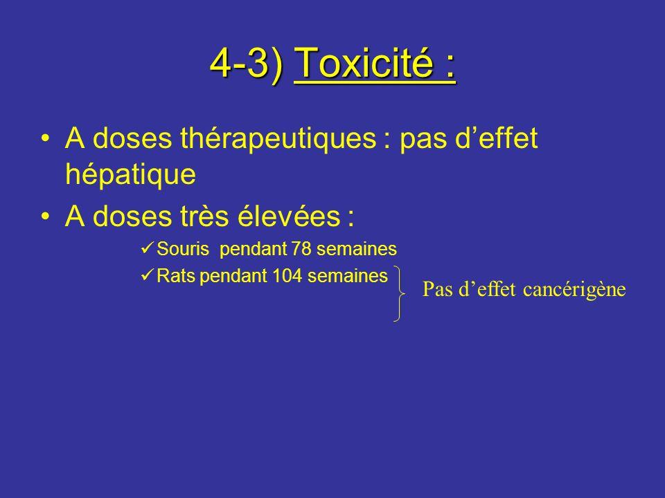 4-3) Toxicité : A doses thérapeutiques : pas deffet hépatique A doses très élevées : Souris pendant 78 semaines Rats pendant 104 semaines Pas deffet c
