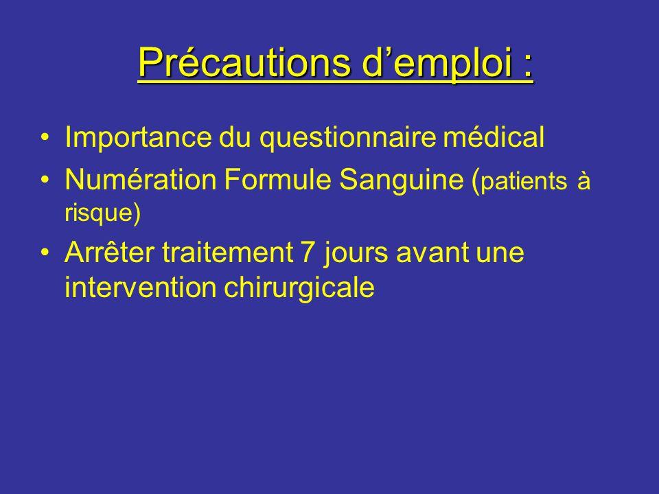 Précautions demploi : Précautions demploi : Importance du questionnaire médical Numération Formule Sanguine ( patients à risque) Arrêter traitement 7