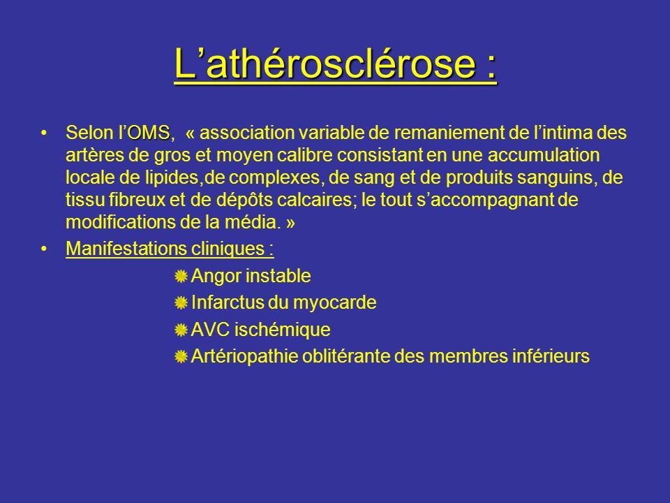 Lathérosclérose : OMSSelon lOMS, « association variable de remaniement de lintima des artères de gros et moyen calibre consistant en une accumulation