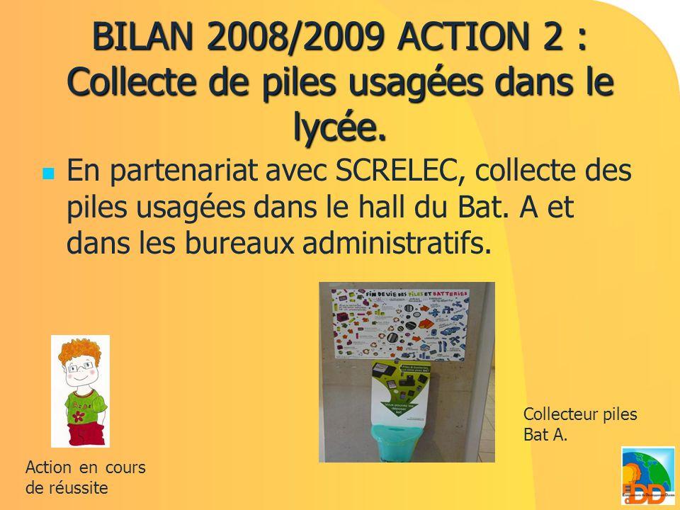 BILAN 2008/2009 ACTION 2 : Collecte de piles usagées dans le lycée. En partenariat avec SCRELEC, collecte des piles usagées dans le hall du Bat. A et