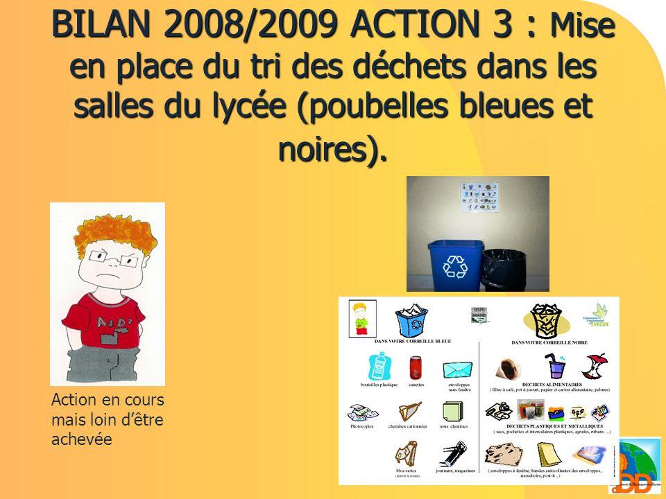 BILAN 2008/2009 ACTION 3 : Mise en place du tri des déchets dans les salles du lycée (poubelles bleues et noires). Action en cours mais loin dêtre ach