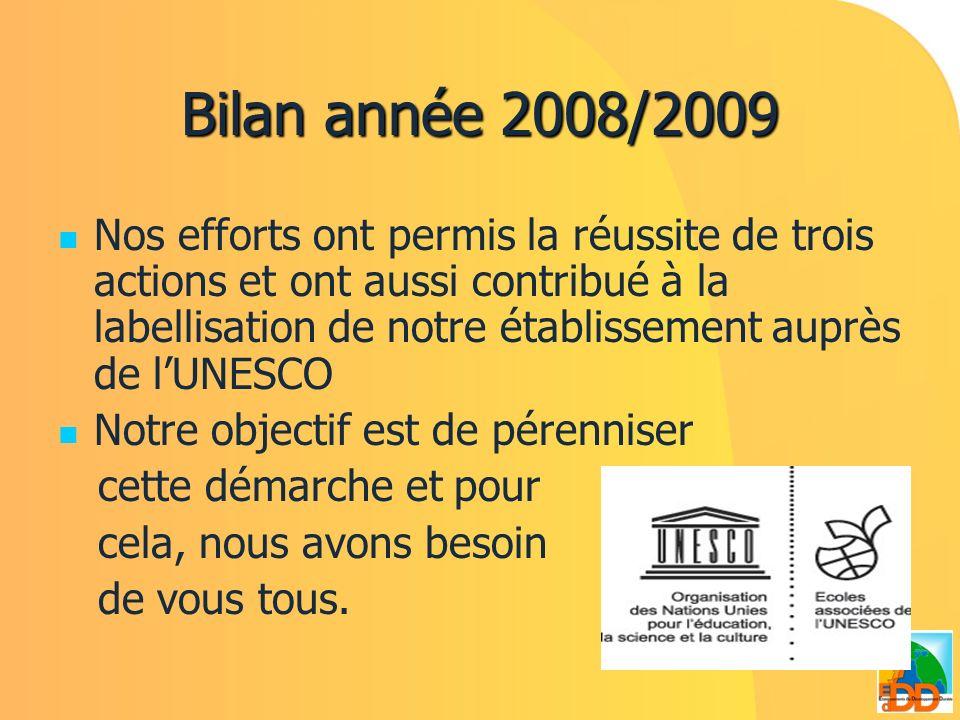 Bilan année 2008/2009 Nos efforts ont permis la réussite de trois actions et ont aussi contribué à la labellisation de notre établissement auprès de l