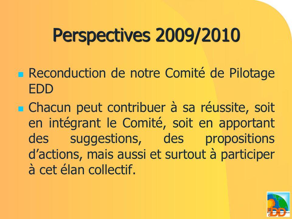 Perspectives 2009/2010 Reconduction de notre Comité de Pilotage EDD Chacun peut contribuer à sa réussite, soit en intégrant le Comité, soit en apporta