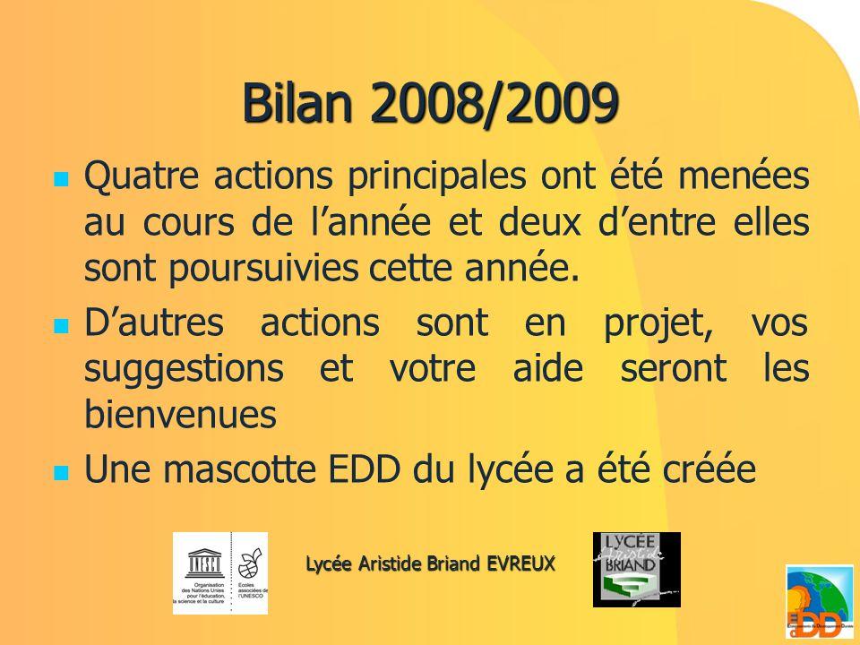 Bilan 2008/2009 Quatre actions principales ont été menées au cours de lannée et deux dentre elles sont poursuivies cette année. Dautres actions sont e