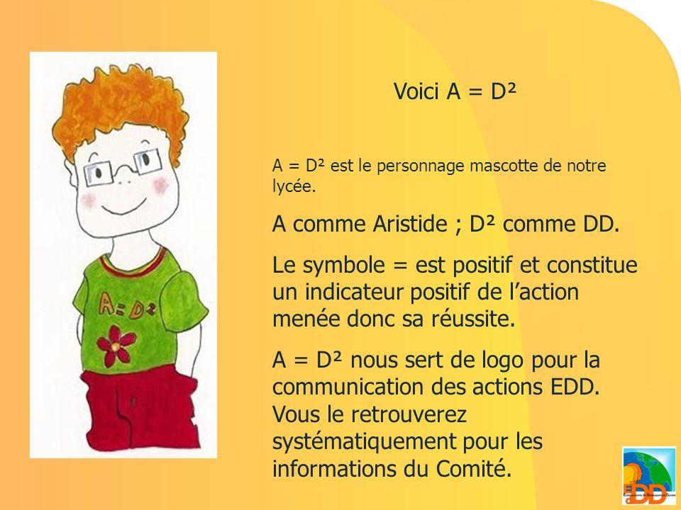 Voici A = D² A = D² est le personnage mascotte de notre lycée. A comme Aristide ; D² comme DD. Le symbole = est positif et constitue un indicateur pos