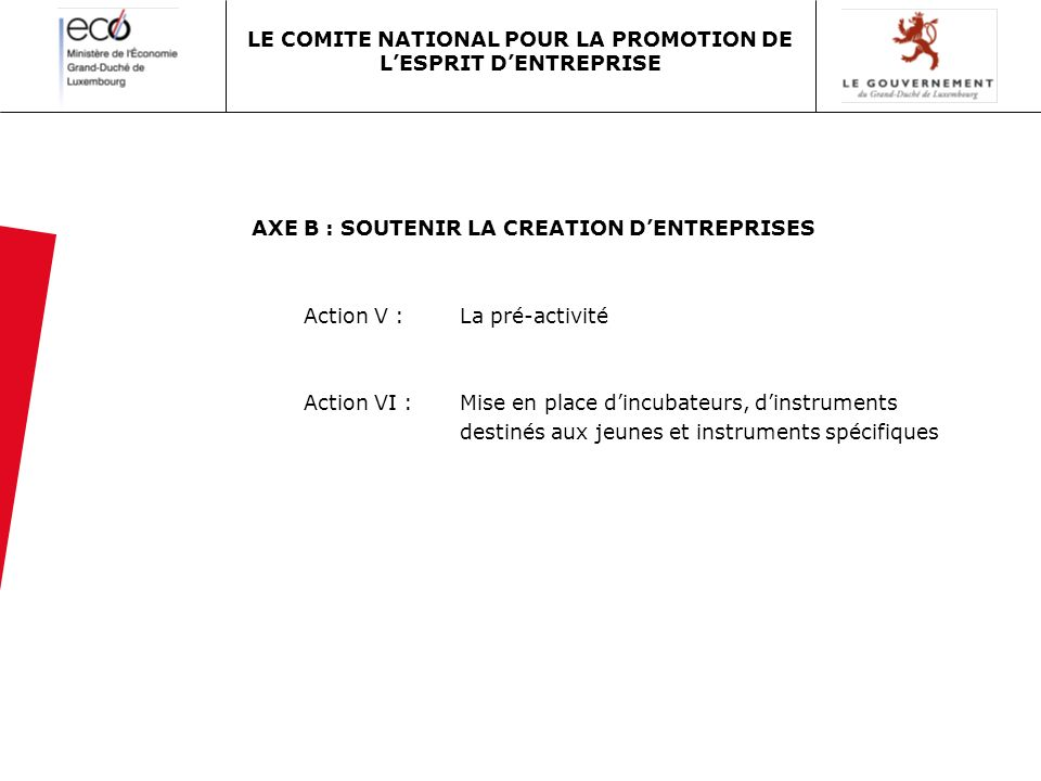 AXE B : SOUTENIR LA CREATION DENTREPRISES Action V : La pré-activité Action VI :Mise en place dincubateurs, dinstruments destinés aux jeunes et instruments spécifiques LE COMITE NATIONAL POUR LA PROMOTION DE LESPRIT DENTREPRISE