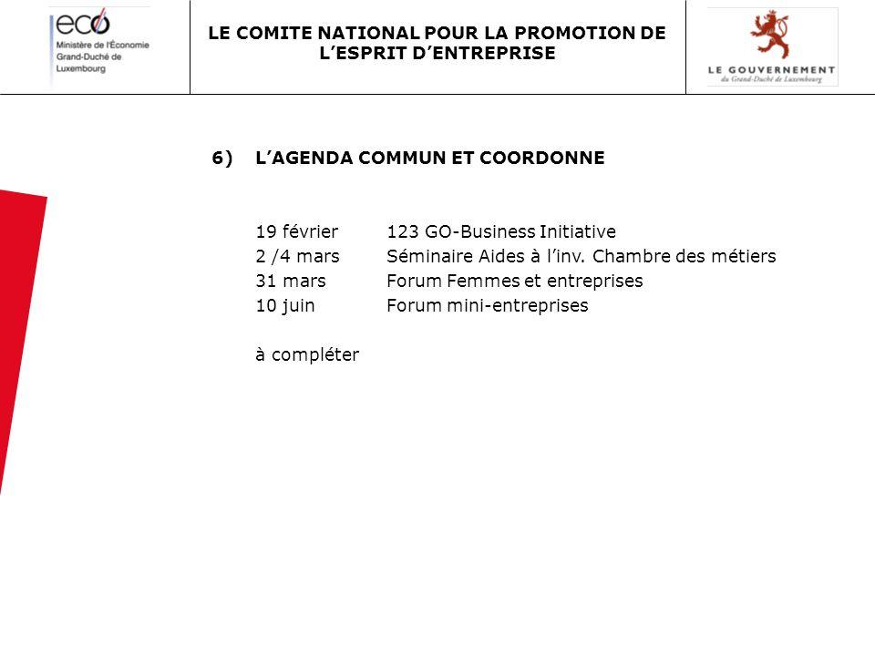 6)LAGENDA COMMUN ET COORDONNE 19 février123 GO-Business Initiative 2 /4 marsSéminaire Aides à linv. Chambre des métiers 31 marsForum Femmes et entrepr