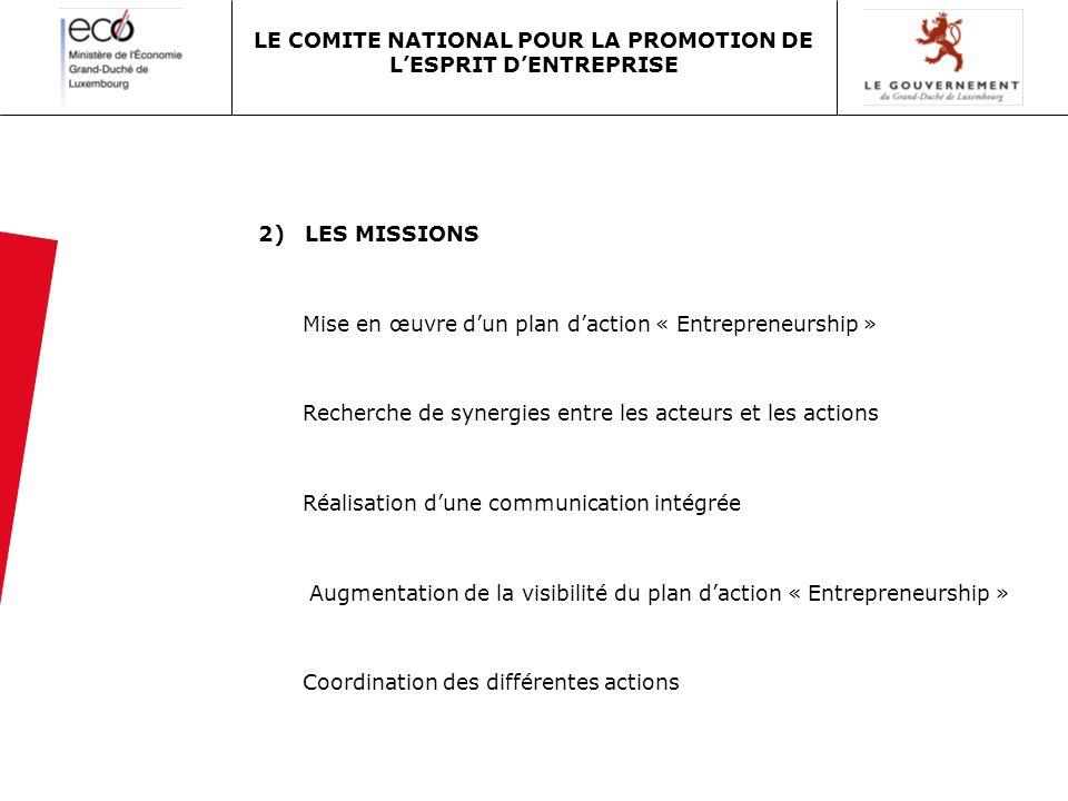 2) LES MISSIONS Mise en œuvre dun plan daction « Entrepreneurship » Recherche de synergies entre les acteurs et les actions Réalisation dune communica