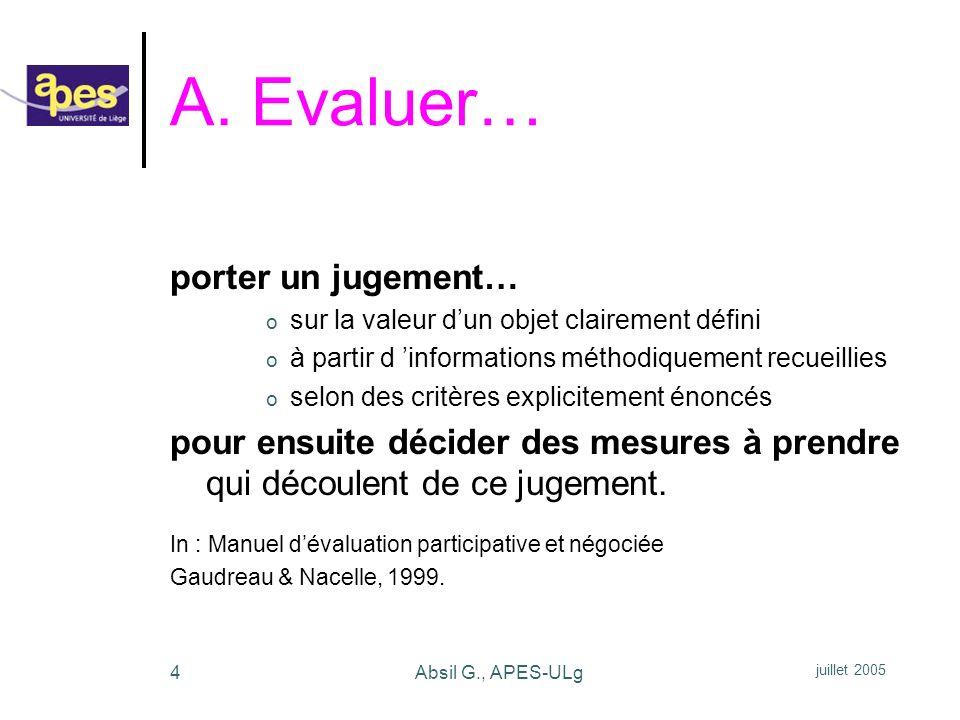 juillet 2005 Absil G., APES-ULg5 Lévaluation est : o un processus de production o dun jugement de valeur o pour conduire une action par des décisions.