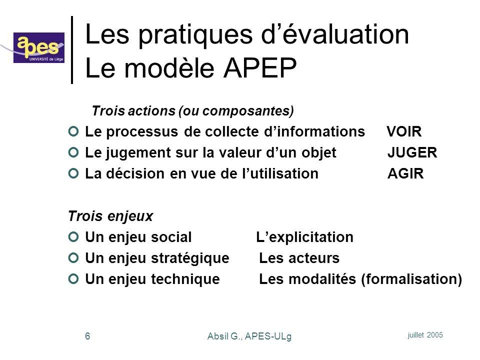 juillet 2005 Absil G., APES-ULg37 1.
