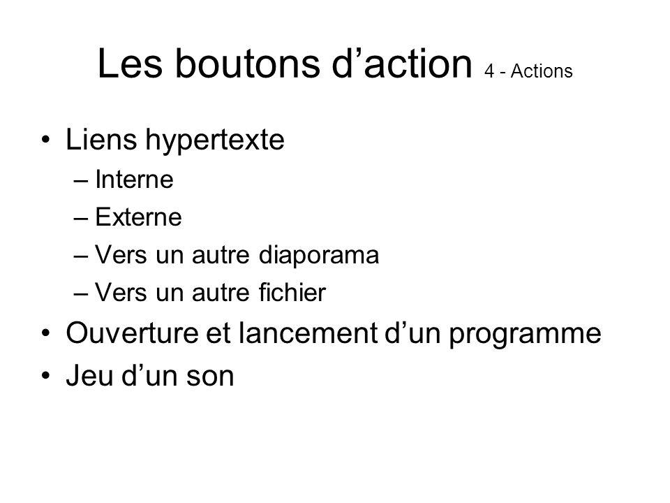Les boutons daction 4 - Actions Liens hypertexte –Interne –Externe –Vers un autre diaporama –Vers un autre fichier Ouverture et lancement dun programme Jeu dun son
